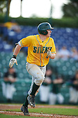 Siena Saints second baseman Jordan Bishop (4) runs to first base during a game against the Pittsburgh Panthers on February 24, 2017 at Historic Dodgertown in Vero Beach, Florida.  Pittsburgh defeated Siena 8-2.  (Mike Janes/Four Seam Images)
