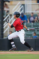 Blake Rutherford (20) of the Kannapolis Intimidators follows through on his swing against the Columbia Fireflies at Kannapolis Intimidators Stadium on July 23, 2017 in Kannapolis, North Carolina.  The Fireflies defeated the Intimidators 3-1.  (Brian Westerholt/Four Seam Images)