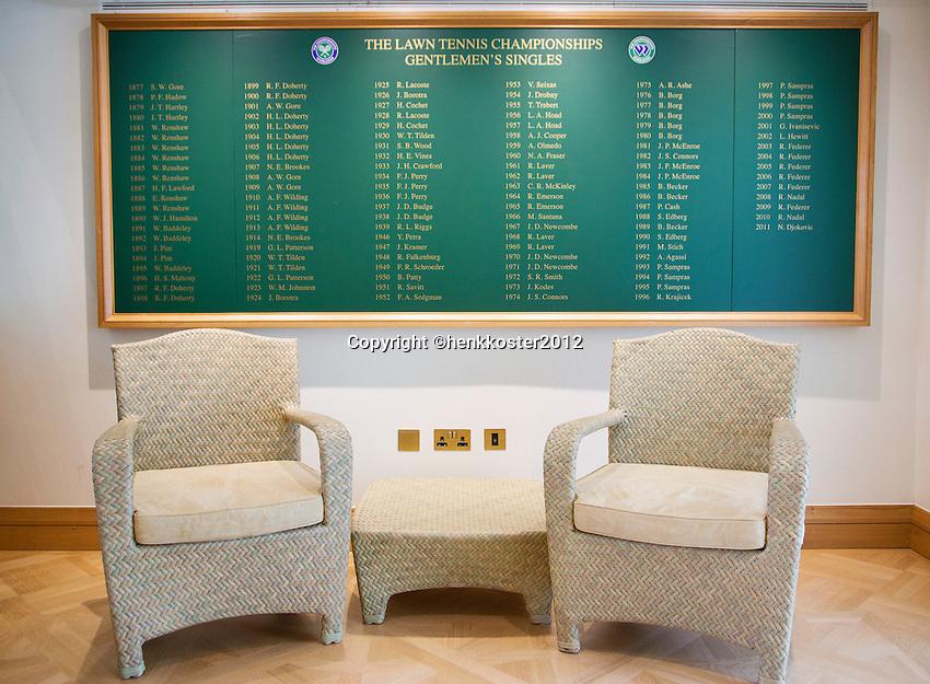 20-06-12, England, London, Wimbledon, Tennis, Clubhuis van Wimbledon, de winnaars.