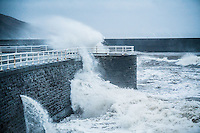 Aberystwyth Wales UK, Thursday 23 February 2017<br /> In the early hours of Thursday morning, Storm Doris, the fourth named storm of the winter, hits the seaside town of Aberystwyth, bringing massive waves pounding against the promenade and sea defences.