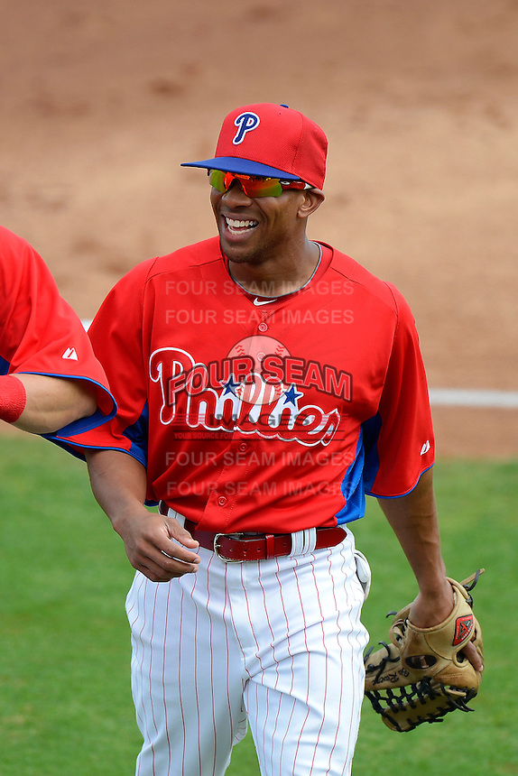 Philadelphia Phillies outfielder Ben Revere #2 coming off the field during a Spring Training game against the New York Yankees at Bright House Field on February 26, 2013 in Clearwater, Florida.  Philadelphia defeated New York 4-3.  (Mike Janes/Four Seam Images)