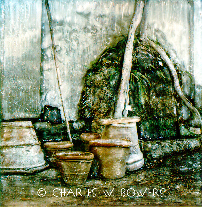 Terra cotta pots are waiting for their next plant to shelter and nuture.<br /> <br /> -Limited Edition of 50 Prints