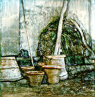 Terra cotta pots are waiting for their next plant to shelter and nuture.<br />