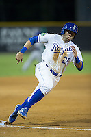 Emmanuel Rivera (24) of the Burlington Royals rounds third base during the game against the Kingsport Mets at Burlington Athletic Stadium on July 18, 2016 in Burlington, North Carolina.  The Royals defeated the Mets 8-2.  (Brian Westerholt/Four Seam Images)