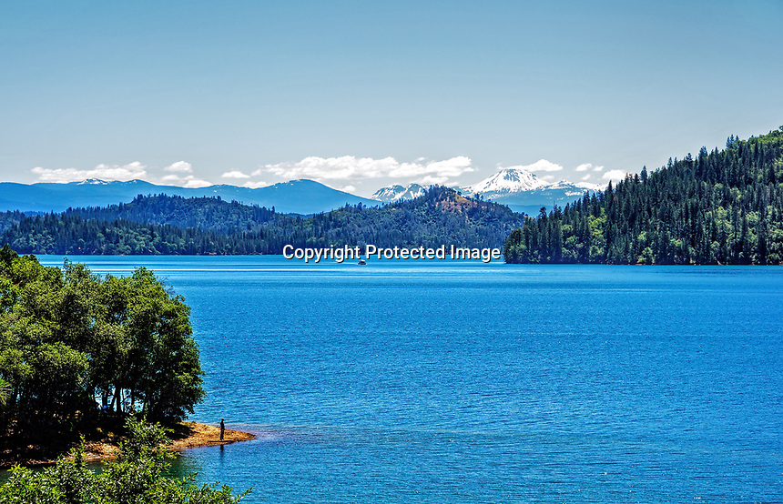 Shasta Lake in Northern California during the summer.