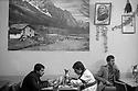 Turkey 1987 .In a restaurant of Sirnak,Kurds eating under the portrait of Ataturk .Irak 1987.Dans un restaurant de Sirnak, Kurdes mangeant sous le portrait de Ataturk