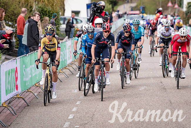 Wout van Aert (BEL/Jumbo-Visma) up the final ascent of the Geulhemmerberg, sided by Tom Pidcock (GBR/Ineos Grenadiers)<br /> <br /> 55th Amstel Gold Race 2021 (1.UWT)<br /> 1 day race from Valkenburg to Berg en Terblijt; raced on closed circuit (NED/217km)<br /> <br /> ©kramon