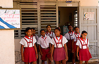 School children singing at elementary school in the country in Australia inMatanzas Provence Cuba called Primary School of Nelson Fernandez