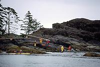 Haida Gwaii (Queen Charlotte Islands), Northern BC, British Columbia, Canada - Eco Tourists exploring Burnaby Narrows, Gwaii Haanas National Park Reserve and Haida Heritage Site
