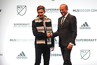 Philadelphia, PA - Thursday January 19, 2018: Jon Gallagher, Don Garber during the 2018 MLS SuperDraft at the Pennsylvania Convention Center.