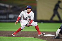 Auburn Doubledays shortstop Jose Sanchez (44) waits for a throw during a NY-Penn League game against the West Virginia Black Bears on August 23, 2019 at Falcon Park in Auburn, New York.  West Virginia defeated Auburn 6-5, the second game of a doubleheader.  (Mike Janes/Four Seam Images)