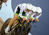 05 DEC 2014 - STRATFORD, LONDON, GBR - The Australian (AUS) team line up as they race to the finish during their women's Team Pursuit first round tie against Canada at the 2014 UCI Track Cycling World Cup  at the Lee Valley Velo Park in Stratford, London, Great Britain (PHOTO COPYRIGHT © 2014 NIGEL FARROW, ALL RIGHTS RESERVED)