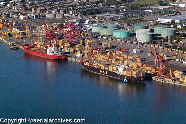 aerial photograph of containerships at the Port of Montreal, Quebec, Canada | photographie aérienne des navires porte-conteneurs au port de Montréal, Québec, Canada