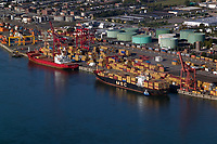 aerial photograph of containerships at the Port of Montreal, Quebec, Canada | photographie aérienne des navires porte-conteneurs au port de Montréal, Québec, Canada