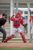 Boston Red Sox catcher Jhon Nunez (31) throws down to second base during a minor league Spring Training intrasquad game on March 31, 2017 at JetBlue Park in Fort Myers, Florida. (Mike Janes/Four Seam Images)