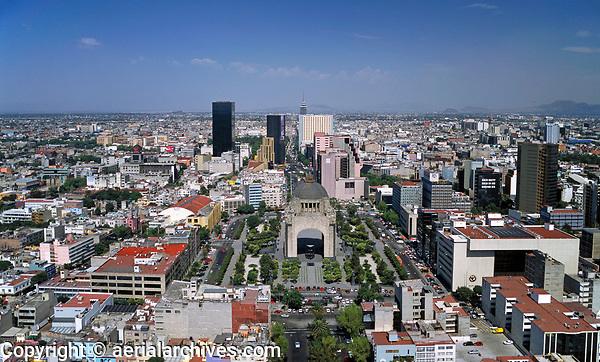 aerial photograph of the Plaza de la Republica and the Monument to the Revolution, Monumento a la Revolucion, Mexico City