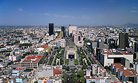 aerial photograph of the Plaza de la Republica and the Monument to the Revolution, Monumento a la Revolucion, Mexico City
