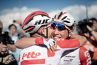 Tosh Van der Sande (BEL/Lotto-Soudal) congratulating Caleb Ewan (AUS/Lotto-Soudal) who wins the bunch sprint into Novi Ligure<br /> <br /> Stage 11: Carpi to Novi Ligure (221km)<br /> 102nd Giro d'Italia 2019<br /> <br /> ©kramon