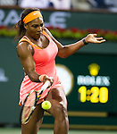 Serena Williams (USA) during her quarterfinal match against Timea Bacsinszky (SUI). Serena defeated a tough Bacsinszky with a score of 75 63 at the BNP Parisbas Open in Indian Wells, CA on March 18, 2015.