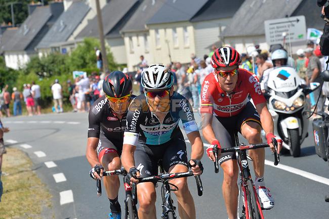 Michal Golas (POL) Etixx-Quick Step, Lars Yting Bak (DEN) Lotto-Soudal and Bartosz Huzarski (POL) Bora-Argon 18 go for it in the closing kilometres of Stage 8 of the 2015 Tour de France running 181.5km from Rennes to Mur de Bretagne, France. 10th July 2015.<br /> Photo: ASO/B.Bade/Newsfile