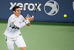 Milos Raonic (CAN) during his semifinal match against Roger Federer (SUI). Federer advanced to Sunday's final with a score of 62 63 at the Western & Southern Open in Mason, OH on August 16, 2014.