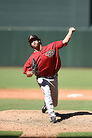 Arizona Diamondbacks pitcher Jared Miller (54) during an Instructional League game against the Oakland Athletics on October 10, 2014 at Chase Field in Phoenix, Arizona.  (Mike Janes/Four Seam Images)