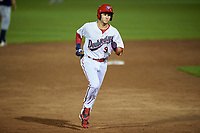 Auburn Doubledays shortstop Carter Kieboom (9) rounds the bases after hitting a home run in the bottom of the ninth inning during a game against the Connecticut Tigers on August 9, 2017 at Falcon Park in Auburn, New York.  Connecticut defeated Auburn 6-4.  (Mike Janes/Four Seam Images)