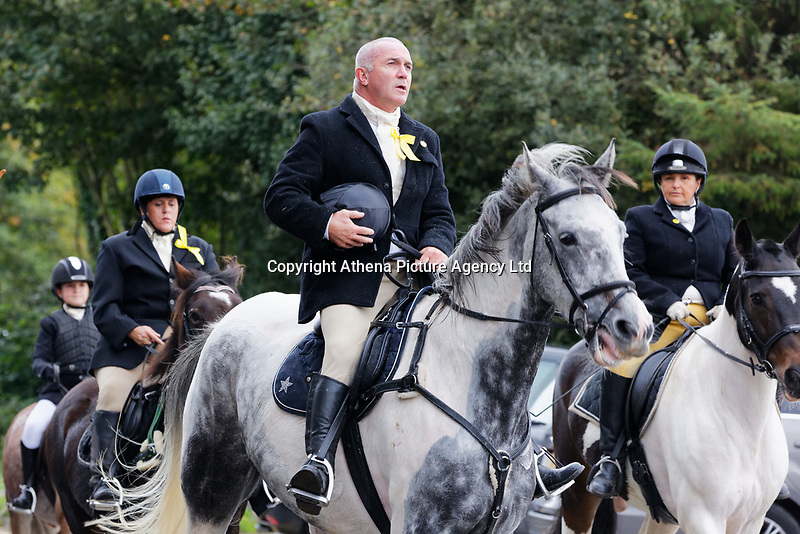 """Pictured: Mourners arrive at Margam Crematorium, Wales, UK. Monday 08 October 218<br /> Re: A grieving father will mourners on horseback at the funeral of his """"wonderful"""" son who killed himself after being bullied at school.<br /> Talented young horse rider Bradley John, 14, was found hanged in the school toilets by his younger sister Danielle.<br /> Their father, farmer Byron John, 53, asked the local riding community to wear their smart hunting gear at Bradley's funeral.<br /> Police are investigating Bradley's death at the 500-pupils St John Lloyd Roman Catholic school in Llanelli, South Wales.<br /> Bradley's family claim he had been bullied for two years after being diagnosed with Attention Deficit Hyperactivity Disorder.<br /> He went missing during lessons and was found in the toilet cubicle by his sister Danielle, 12."""