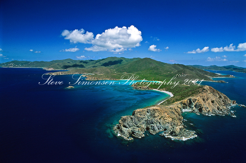 Aerial view of St John's south east shore with Ram Head in the foreground<br /> US Virgin Islands