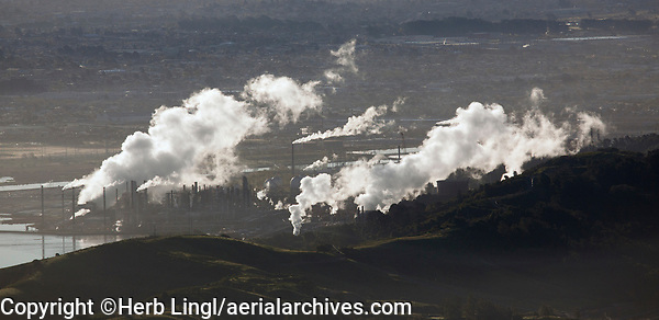 aerial photography smoke from Chevron Richmond Refinery, Richmond, California
