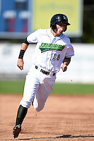 Jamestown Jammers outfielder Carl Anderson (18) runs the bases during a game against the Mahoning Valley Scrappers on June 15, 2014 at Russell Diethrick Park in Jamestown, New York.  Jamestown defeated Mahoning Valley 9-4.  (Mike Janes/Four Seam Images)