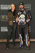Monster Energy NASCAR Cup Series<br /> Federated Auto Parts 400<br /> Richmond Raceway, Richmond, VA USA<br /> Saturday 9 September 2017<br /> Martin Truex Jr and Sherry Pollex with the Regular Season Championship trophy<br /> World Copyright: Lesley Ann Miller<br /> LAT Images