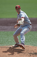 Boston College Eagles starting pitcher Alex Stiegler (49) in action against the Virginia Tech Hokies at English Field on April 3, 2021 in Blacksburg, Virginia. (Brian Westerholt/Four Seam Images)