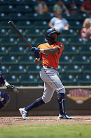 Ronnie Dawson (4) of the Buies Creek Astros follows through on his swing against the Winston-Salem Dash at BB&T Ballpark on July 15, 2018 in Winston-Salem, North Carolina. The Dash defeated the Astros 6-4. (Brian Westerholt/Four Seam Images)