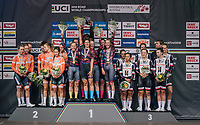 TTT winners Team Canyon-Sram celebrating on the podium<br /> <br /> UCI WOMEN'S TEAM TIME TRIAL<br /> Ötztal to Innsbruck: 54.5 km<br /> <br /> UCI 2018 Road World Championships<br /> Innsbruck - Tirol / Austria