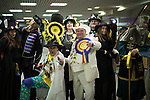 © Joel Goodman - 07973 332324 . 24/02/2017 . Stoke-on-Trent , UK . The Monster Raving Looney Party arrive at to the count in the by-election for the constituency of Stoke-on-Trent Central , at Fenton Manor Sports Complex . Photo credit : Joel Goodman