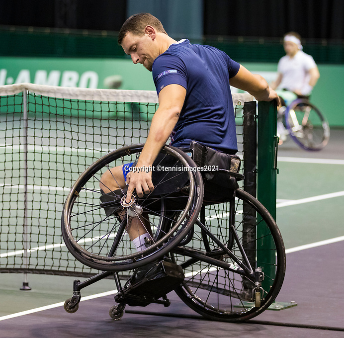 Rotterdam, The Netherlands, 6 march  2021, ABNAMRO World Tennis Tournament, Ahoy,  Semi final wheelchair:  Joachim Gerard (BEL). Photo: www.tennisimages.com