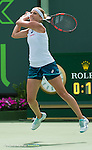 March 28 2016: Timea Bacsinszky (SUI) defeats Agnieszka Radwanska (Pol) by 2-6, 6-4, 6-2, at the Miami Open being played at Crandon Park Tennis Center in Miami, Key Biscayne, Florida.