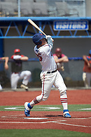 Rudy Maxwell (25) (Duke) of the High Point-Thomasville HiToms follows through on his swing against the Old North State League West All-Stars at Hooker Field on July 11, 2020 in Martinsville, VA. The HiToms defeated the Old North State League West All-Stars 12-10. (Brian Westerholt/Four Seam Images)
