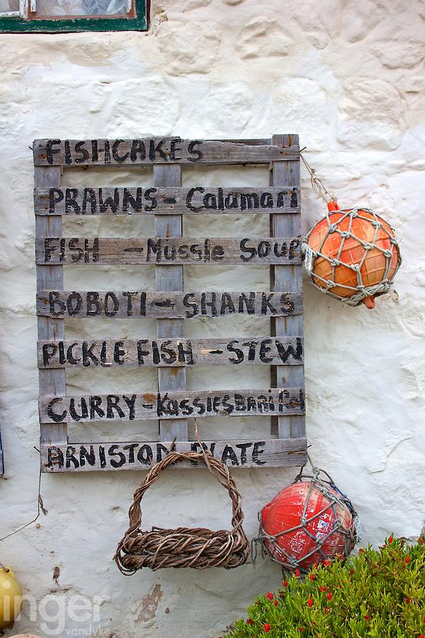 Lunch Menu at Kassiesbaai Fishing Village outside Arniston, South Africa