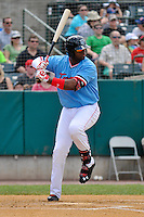 Kennys Vargas (21) of the New Britain Rock Cats bats during a game against the Reading Fightin Phils at New Britain Stadium on June 22, 2014 in New Britain, Connecticut.  New Britain defeated Reading 5-3. (Gregory Vasil/Four Seam Images)
