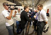 Media mixed zone, Jimmy Conrad..USA vs Honduras, Saturday Jan. 23, 2010 at the Home Depot Center in Carson, California. .Honduras 3, USA 1.