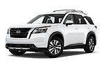 Stock pictures of low aggressive front three quarter view of 2022 Nissan Pathfinder SL 5 Door SUV Low Aggressive