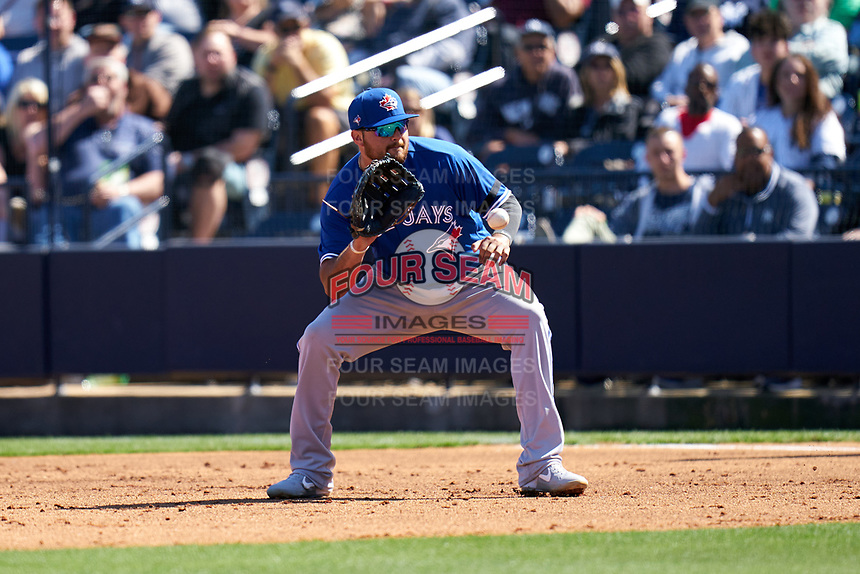Toronto Blue Jays first baseman Rowdy Tellez (44) fields a ground ball during a Spring Training game against the New York Yankees on February 22, 2020 at the George M. Steinbrenner Field in Tampa, Florida.  (Mike Janes/Four Seam Images)