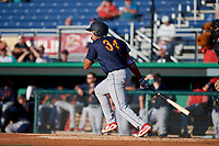 State College Spikes Dariel Gomez (34) bats during a NY-Penn League game against the Batavia Muckdogs on July 1, 2019 at Dwyer Stadium in Batavia, New York.  Batavia defeated State College 5-4.  (Mike Janes/Four Seam Images)