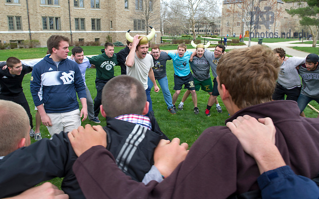 Apr 28, 2014; Siegfried Hall residence prepares to compete against Knott Hall in the Residence Hall tug of war challenges on the North Quad as part of Notre Dame Day. Knott Hall won the competition. Photo by Barbara Johnston/University of Notre Dame