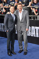 Taylor Kitsch and Liam Neeson at the film premiere of 'Battleship,' at the NOKIA Theatre at L.A. LIVE in Los Angeles, California. May, 10, 2012. ©mpi35/MediaPunch Inc.