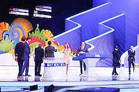 Costa do Sauípe, Bahia, Brazil - Friday, Dec 6, 2013: <br /> FIFA Secretary General Jérôme Valcke and Brazilian actress Fernanda Lima host the draw for 32 teams who have qualified for the finals. Former FIFA players Ghiggia (Uruguai), Geoff Hurst (England), Mario Kempes (Argentina), Lothar Matthäus (Germany), Zinedine Zidane (France), Cafu (Brazil), Fabio Cannavaro (Italy), and Fernando Hierro (Spain), were part of the ceremony.