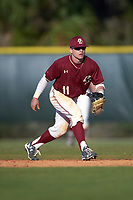 Boston College Eagles second baseman Jake Palomaki (11) during a game against the Indiana State Sycamores on February 27, 2016 at North Charlotte Regional Park in Port Charlotte, Florida.  Boston College defeated Indiana State 5-3.  (Mike Janes/Four Seam Images)