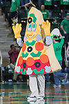 The Papa Johns Pizza mascot in action during the game between the Arkansas Little Rock Trojans and the North Texas Mean Green at the Super Pit arena in Denton, Texas. UALR defeats UNT 62 to 57...